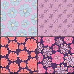 squares of Pattern of beautiful and tropical flowers, colorful design vector illustration