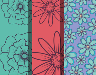 Design of differents and beautiful tropical flowers patterns, colorful design