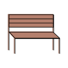 wooden bench furniture park decoration vector illustration