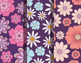 Pattern of beautiful and tropical flowers, colorful design vector illustration