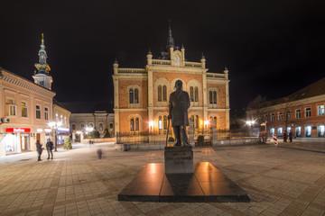 Novi Sad, Serbia March 14, 2018: Center of Novi Sad in Zmaj Jovina street with Vladicin court residential palace, Orthodox church and monument of Jovan Jovanovic Zmaj.