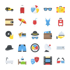 Pack of Travelling and Enjoyment Flat Vector Icons
