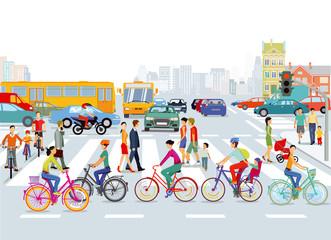 Stadt mit Straßenverkehr, Radfahrer und Fußgänger, Illustration