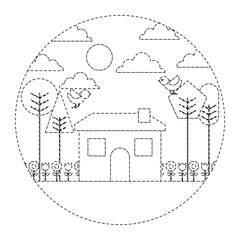 landscape house tree bird flowers spring season round design vector illustration dotted line image