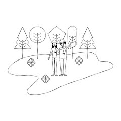 couple taking selfie in the winter landscape vector illustration dotted line image