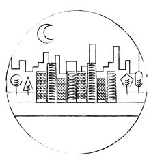 landscape night urban buildings trees moon scenary round design vector illustration