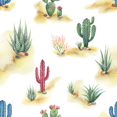 Watercolor seamless pattern of landscape with desert and cacti isolated on white background.