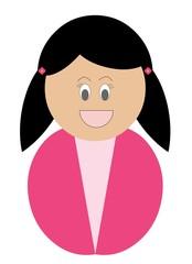 Menina branca feliz sorrindo e vestindo roupa cor de rosa