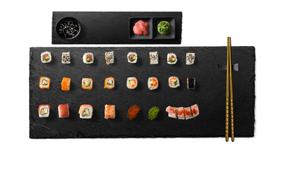 Set of Japanese sushi isolated on white background. Top view