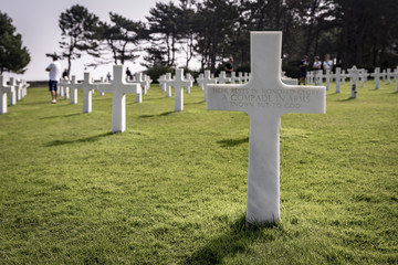 Rows of graves at the American Cemetary, in Normandy, Northern France