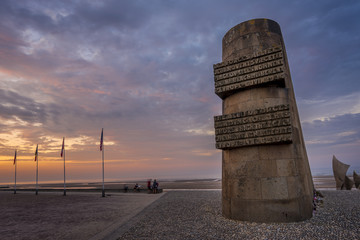 Omaha Beach Memorial, at sunset, in the summer