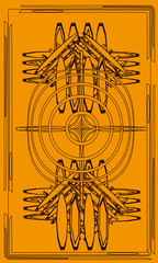 Tarot cards - back design.  Celtic cross