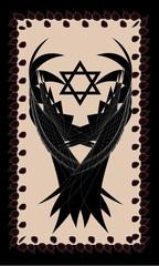 Tarot cards - back design.  Hexagram,wings