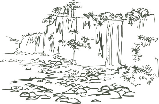 Jeongbang Waterfall. Jeju Island. Waterfall at the edge of the sea