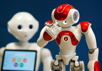 SoftBank Robotics Robot Assistants Pepper and NAO are pictured in Paris