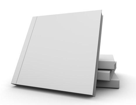 Square hardcover books blank cover mockup .