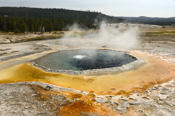 Crested Pool on Geyser Hill, Yellowstone National Park in Wyoming