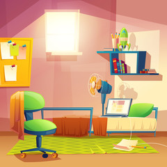 Vector student small room, cartoon bedroom, dormitory with furniture. Cozy apartment with bed, laptop, armchair, carpet, bookshelf, board, fan Architecture background