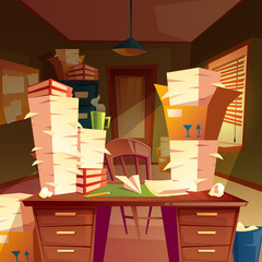 Vector cartoon background with piles of paper in empty office, paperwork, folders, documents in boxes, chaos in workplace. A lot of job, overtime and hard work before deadline, concept illustration