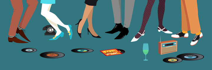 Wall Mural - Legs of people dancing and socializing at 1950s -  1960s party, vinyl records and transistor radio on the floor, EPS 8 vector illustration
