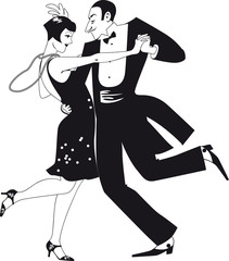 Wall Mural - Couple dressed in 1920th fashion dancing the Charleston, black EPS 8 silhouette vector illustration, no white objects