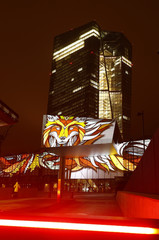 The European Central Bank (ECB) headquarter is illuminated during a preview for the Luminale light show in Frankfurt