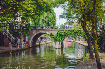 Bridge on the Oudegracht (Old Canal) in center of Utrecht, Netherlands