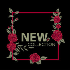 New collection. Fashion graphic design. Embroidered red flowers.