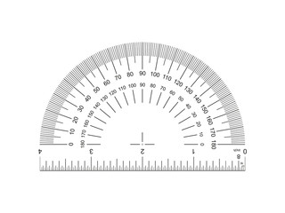 Protractor with ruler 4-inch. Protractor grid for measuring degrees. Tilt angle meter. Ruler 4 inch. 4-inch grid with a division to one thirty-second. Measuring tool. Ruler Graduation. AI10 Wall mural