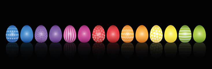 Easter eggs. Lined up with different colors and patterns. Rainbow colored three-dimensional isolated vector illustration on black background.
