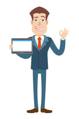 Businessman holding tablet PC and showing a okay hand sign