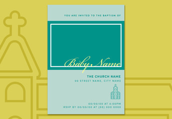 Baptism Invitation Layout with Church Illustration 2