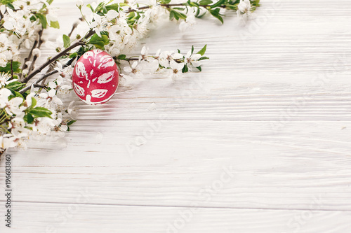Happy Easter Concept Stylish Painted Egg On Rustic Wooden
