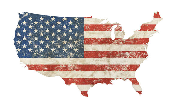US map shaped grunge vintage faded American flag