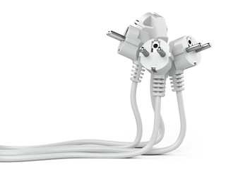 Group white electric plug with long wires.