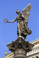 The gold Angel in front of House of Artists, Prague, Czech Republic