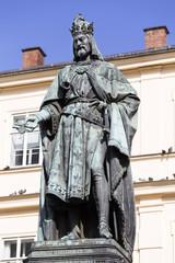 Bronze statue of the eleventh Czech King and Roman Emperor Charles IV. in Prague near Charles Bridge, Czech Republic
