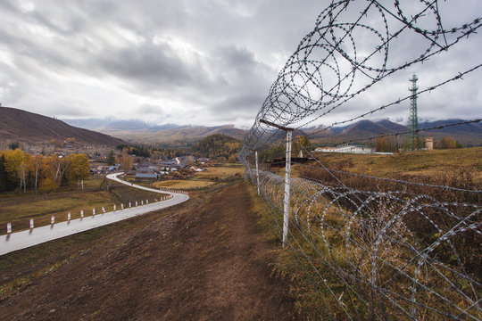 Barbed wire netting, Baihaba village, XInjiang