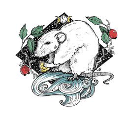The little mouse with cheese surrounded by rose hip. Abstract graphic wiccan illustration. It can be used for printing on t-shirts, postcards, or used as ideas for tattoos.