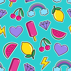 Cute seamless pattern with colorful patches. Stickers of ice cream, cherry, watermelon, rainbow lemon diamonds etc on mint green background. Fashion cool patches and stickers. Vector illustration.