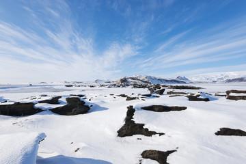 Icelandic winter rural scene