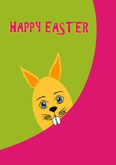 Osterkarte mit mit lustigen Osterhasen und dem Text Happy Easter in grün, pink und gelb. Eps 20 Vektor Datei
