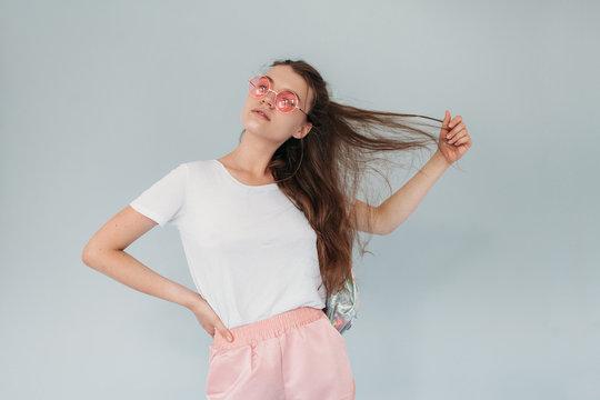 Studio portrait of gorgeous teen girl