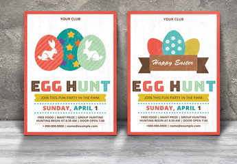 2 Easter Egg Hunt Flyer Layouts with Decorative Egg Illustrations