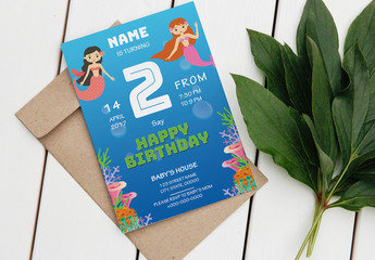 Birthday Party Invitation Layout with Mermaid Illustrations