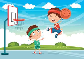 Vector Illustration Of Kids Playing Basketball