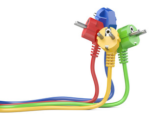 Group plugs colored group electric plug with long wires.