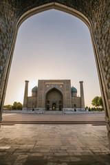 Sher-Dor Madrasah at registan at sunrise, samarqand, uzbekistan