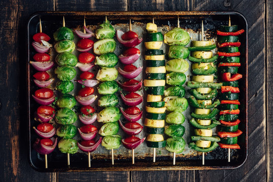 Veggie skewers in a tray for grilling