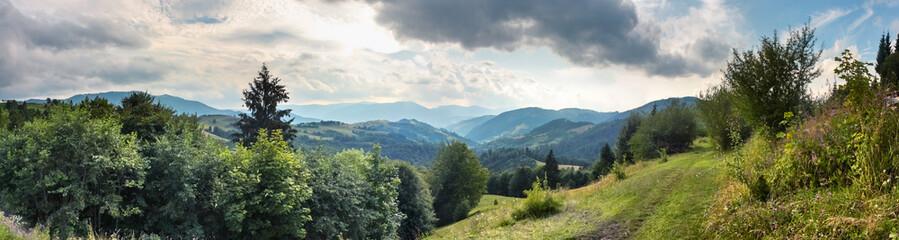 Beautiful landscape, panorama, banner, with a view of the Ukrainian Carpathians, Western Ukraine.